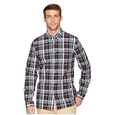 Lacoste Long Sleeve Slim Fit Poplin Stretch Casual Button Down w/ Plaid Print (Aconit/Multico) Men