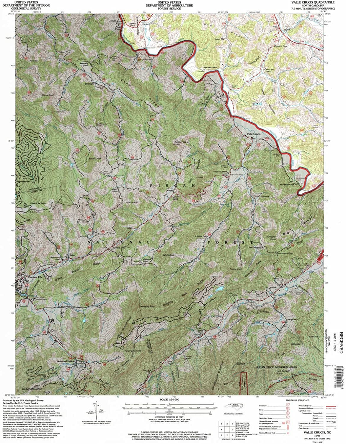 Valle Crucis NC topo map, 1 24000 Scale, 7.5 X 7.5 Minute, Historical, 1994, Updated 1998, 26.8 x 22 in