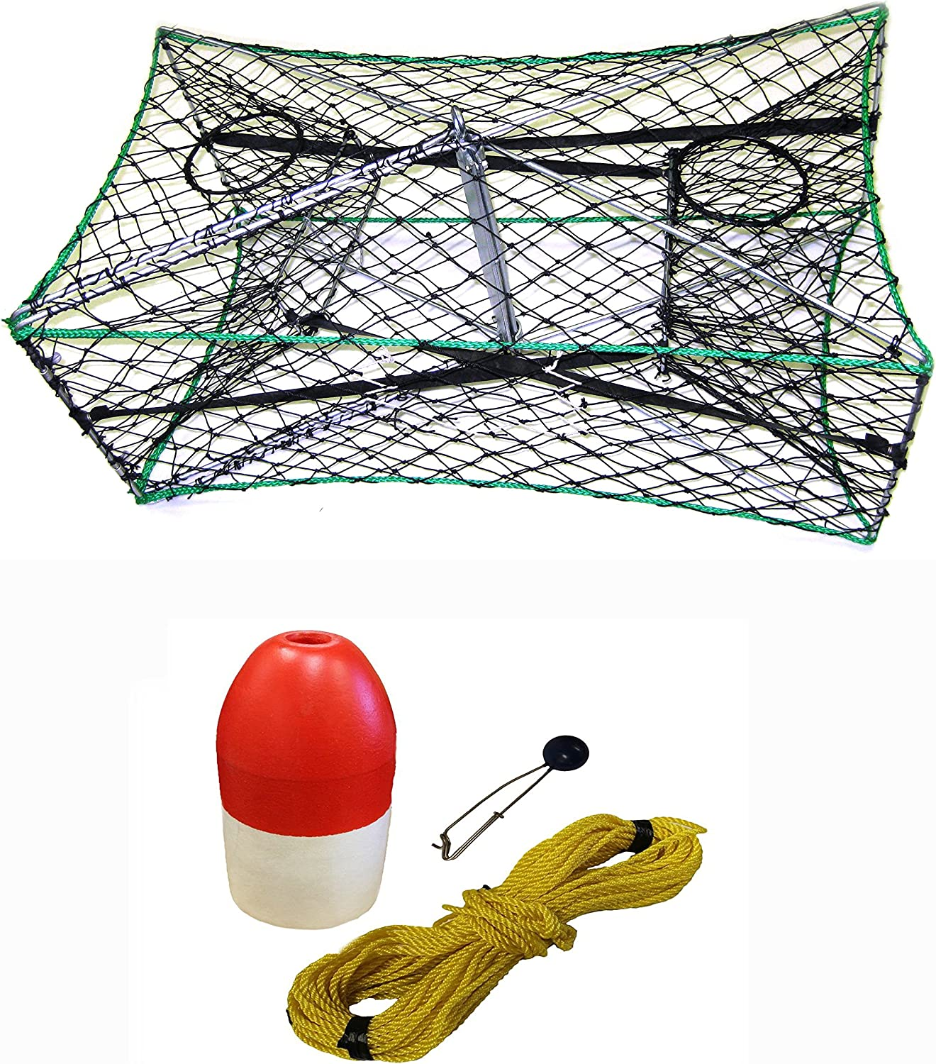 KUFA Galvanized Foldable Crab Trap 1 4  X 100' Poly Rope with Clip On Line
