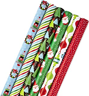 Hallmark Christmas Wrapping Paper Bundle with Cut Lines on Reverse, Modern Santa, Trees, Stripes (Pack of 6; 180 sq. ft. t...