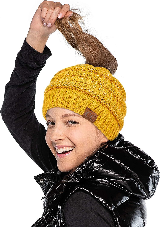 C.C Hatsandscarf Exclusives Messy Bun Ponytail Sequin Beanie Hat (MB730) (Mustard)