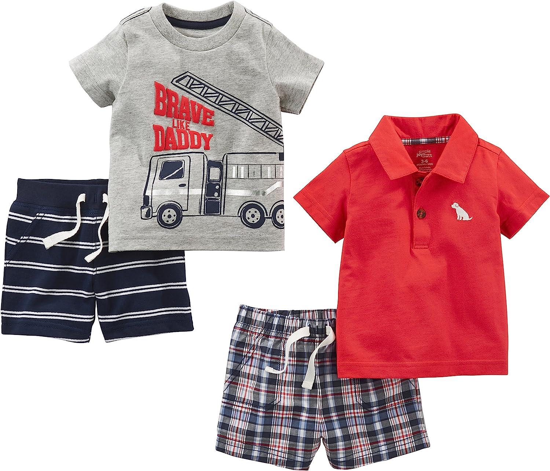 Simple Joys by Carters 4-Piece Long-Sleeve Shirts and Pants Playwear Set B/éb/é Fille Lot de 4