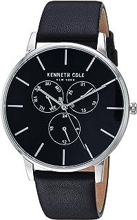 ساعة للرجال بمينا باللون الاسود وسوار من الجلد الطبيعي من كينيث كول - طراز KC50008001