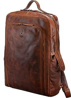 Corno d'Oro Mochila XL vintage para hombre y mujer para ordenador portátil de 17 pulgadas, mochila daypack de cuero real m...