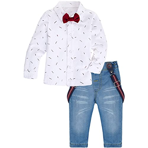 99a11540c49 Lilax Baby Boys Gentleman Outfit Long Sleeve White Shirt with Suspender and  Pant 2 Piece Set