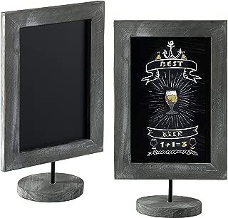 MyGift 11-Inch Vintage Gray Wood-Framed Tabletop Chalkboard Signs, Set of 2