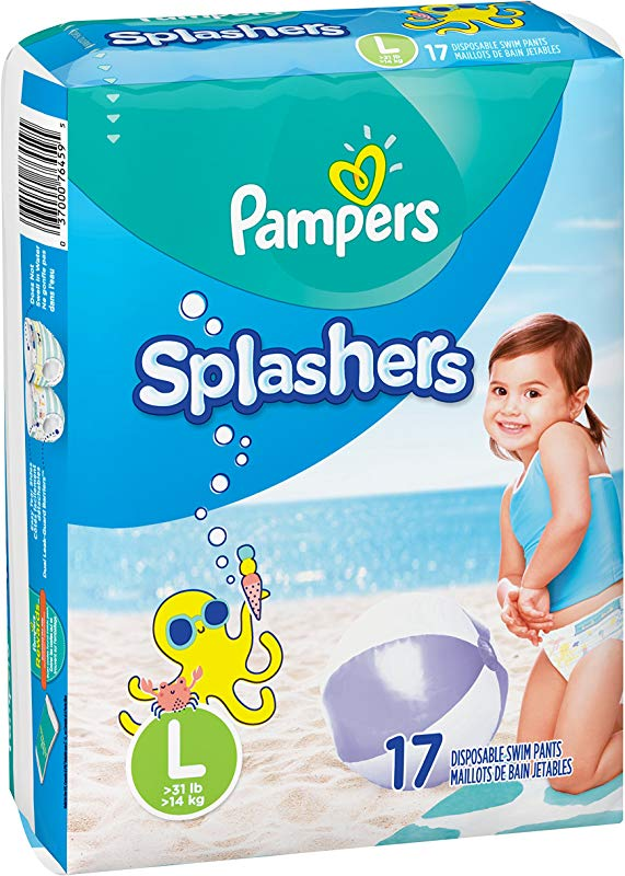 Swim Diapers Size 5 31 Lb 17 Count Pampers Splashers Disposable Swim Pants Large Pack Of 2