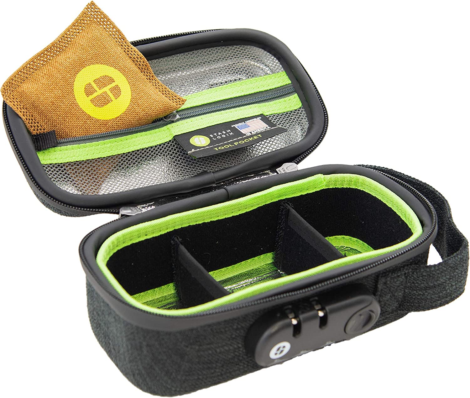 STASHLOGIX Silgreenon - Locking Stash Bag with Odor Control (Black, Small)