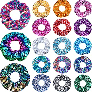 36 Pieces Shiny Metallic Scrunchies Mermaid Hair Scrunchies Elastic Hair Bands Scrunchy Hair Ties Ropes Ponytail Holder Women Girls Hair Accessories for Gym Dance Party Club