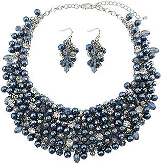Bocar Fashion Crystal Chunky collare dichiarazione collana orecchino set per le donne regalo (NK-10260)
