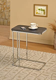 Weathered Grey Finish Chrome Frame Snack Sofa Bed Side Magazine End Table