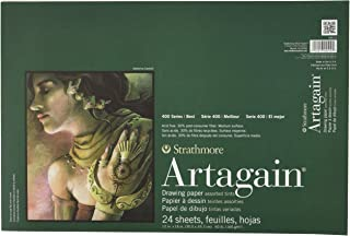 """Strathmore 400 Series Artagain Pad, Assorted Tints, 12""""x18"""" Glue Bound, 24 Sheets"""