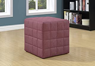 Monarch Specialties Ottoman - Cube Chair - Modern Tufted Cube Ottoman, Linen (Red)
