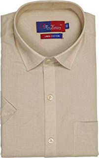 McHenry Mens Solid Formal Regular Fit Half Sleeves Linen Cotton Shirts(Size:39(M),Size:40(L),Size:42(XL),Size:44(XXL))
