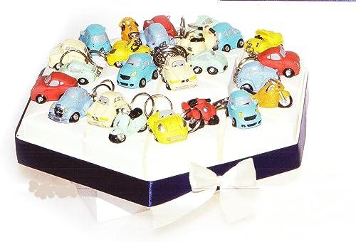 oferta de tienda Tarta Bomboniere 24porciones de tarta con coche y moto vehículo vehículo vehículo Llavero de resina completo de Confetti blancos Crispo al chocolate  ofreciendo 100%