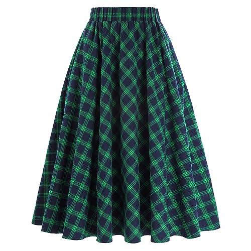1b3058790 Kate Kasin Women's A-Line Vintage Skirt Grid Pattern Plaid KK633/ KK495
