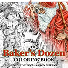 The Baker's Dozen Coloring Book: A Grayscale Adult Coloring Book and Children's Storybook Featuring a Christmas Legend of Saint Nicholas (Skyhook Coloring Storybooks)