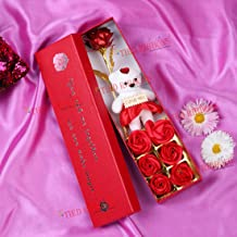 TIED RIBBONS Valentine Gift for Wife Girlfriend - Valentines Artificial Red Rose with I Love You Teddy Bear for Girls