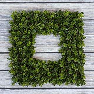 Pure Garden Boxwood Wreath, Artificial Wreath for The Front Door, Home Décor, UV Resistant – 16.5 Inches, Square