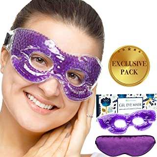 Cold Gel Eye Mask - Exclusive Pack of Reusable Cooling Compress, Silky Satin Sleep Mask and Storage Bag - Set of 3 - for Puffy Eyes, Dark Circles, Migraine, Headache, Dry Eye, Allergy and Pain Relief