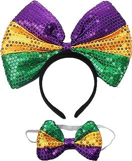 Mardi Gras Sequin Headband Women's costumes Headwear Novelty Cosplay Party Fascinators Accessories for Girls and Women (Yellow&Purple&Green)