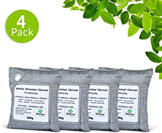 Willow Source Natural Air Purifying Bags (4-Pack) Moso Bamboo Activated Charcoal Deodorizer - Unscented Air Freshener, Odor Eliminator, Car Air Freshener, Moisture Absorber (4)