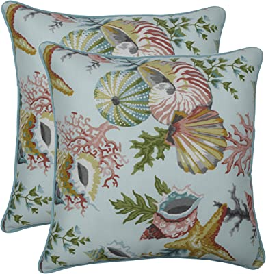 """Pillow Perfect Outdoor/Indoor Grantoli Seamist Throw Pillows, 18.5"""" x 18.5"""", Blue, 2 Pack"""