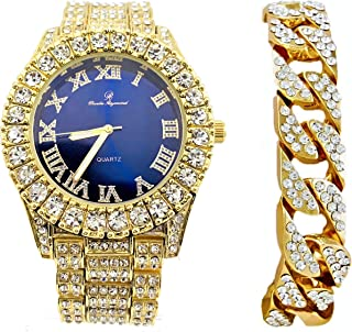 Mens Gold Big Rocks Bezel Royal-Blue Dial with Roman Numerals Fully Iced Out Watch w/Cuban Chain Bracelet - Royal Blue/Gold - ST10327C