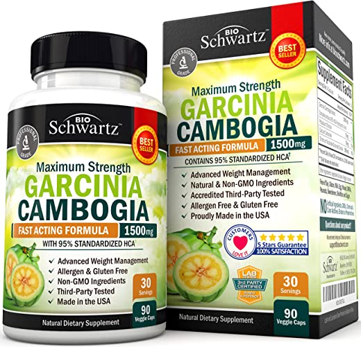 Garcinia Cambogia 95% HCA Pure Extract - Fast Acting Appetite Suppressant - Extreme Carb Blocker & Fat Burner Supplement for Fast Weight Loss – Gluten Free Metabolism Booster & Diet Pill