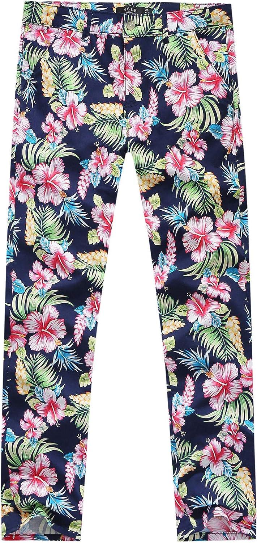 SSLR Mens Floral Printed Casual Pants Regular Fit Hawaiian Pants for Men