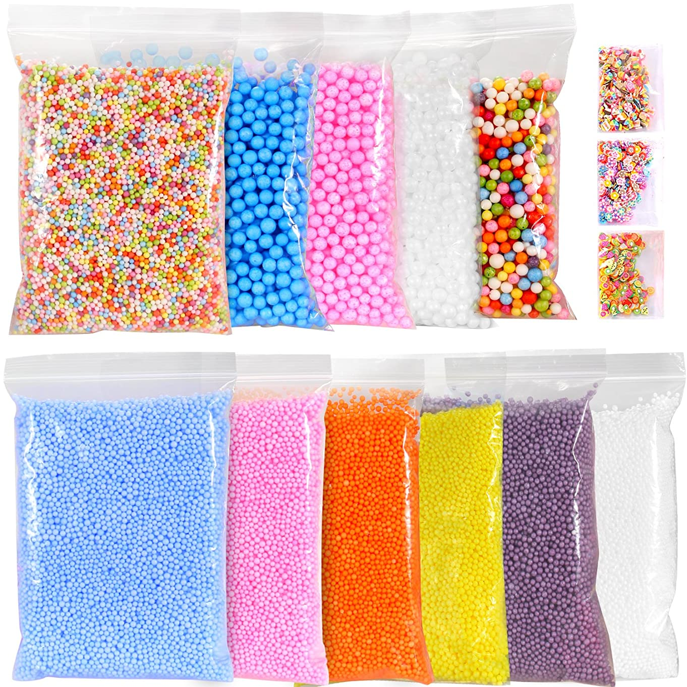 Ohuhu Foam Balls for DIY Slime, 14 Packs Approx 60,000 PCS Decorative Slime Beads for Arts Crafts, Homemade Slime, Fruit Flower Candy Slices for Nail Art, Student Children Kids Back to School Supplies