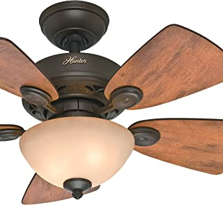 Hunter Fan 34 inch New Bronze Finish Ceiling Fan with Tea-Stain Glass Bowl Light Kit (Renewed)