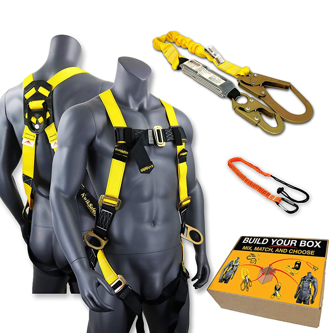KwikSafety (Charlotte, NC) THUNDER COMBO   3D Ring Full Body Safety Harness, 6' Lanyard, Tool Lanyard, ANSI OSHA PPE Fall Protection Arrest Restraint Equipment Universal Construction Roofing Bucket