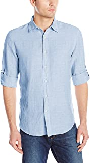 Men's Rolled-Sleeve Solid Linen Cotton Button-up Shirt