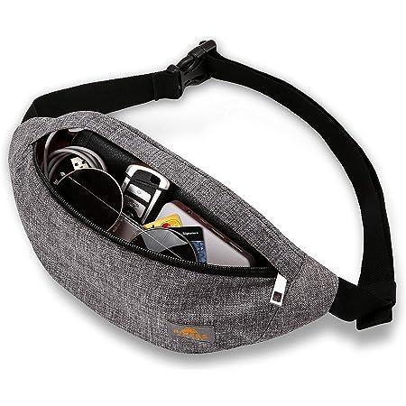 RIXESS wasserdichte Bauchtasche - stylisch in grau - Gürteltasche für Damen und Herren - Fanny Pack - geräumige und dennoch Flache Hüfttasche - Tasche für Sport, Jogging, Reise und Abenteuer