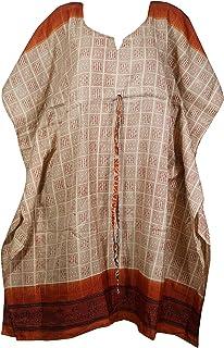 Indiatrendzs Womens Caftan Dress Beach Coverup Midi Dark Orange Beige Printed Dresses Loose Caftan Dresses One Size