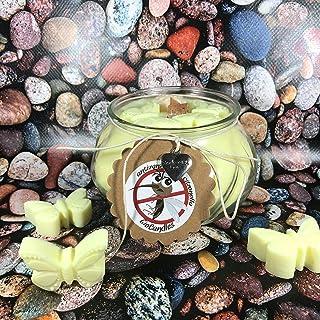 Candela antizanzare alla citronella in cera di soia e olio essenziale con stoppino in legno allontana zanzare insetti in c...