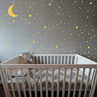 Moon and Stars Wall Decals,Removable Vinyl Wall Stickers for Baby/Kids/Boys/Girls Bedroom,Nursery Decoration(A02) (Dumb Gold)