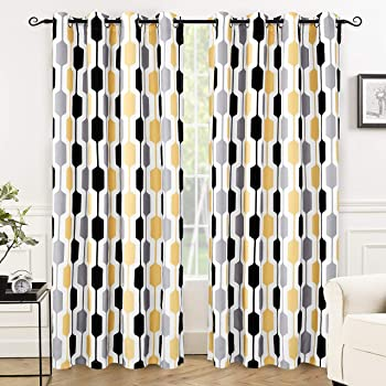 DriftAway Riley Geo Room Darkening Blackout Thermal Insulated Grommet Lined Window Curtains Mid Century Geometric Pattern 2 Layers 2 Panels Each 52 Inch by 84 Inch Gold Black Gray
