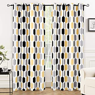 DriftAway Riley Geo Room Darkening Blackout Thermal Insulated Grommet Lined Window Curtains Mid Century Geometric Pattern 2 Layers 2 Panels Each 52 Inch by 84 Inch Gold Yellow Gray Black