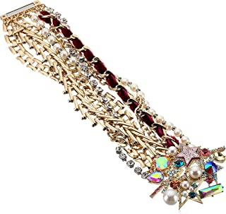 Betsey Johnson Colorful Stone and Stone Statement Bracelet