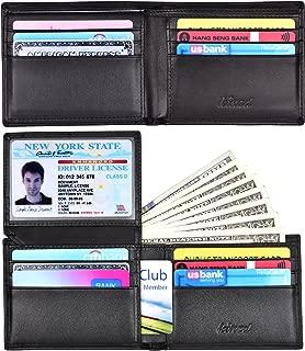 Men's Bifold Trifold Wallet RFID Blocking Genuine Leather Slim Travel Wallet