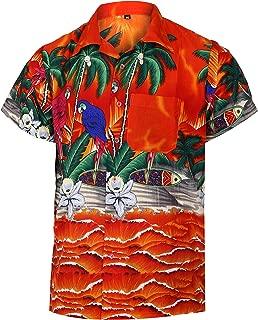 Funky Hawaiian Shirts for Men Short Sleeve Parrot Print Aloha