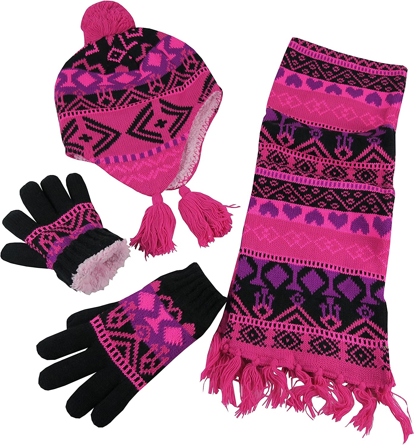 N'Ice Caps Big Girls Sherpa Lined Printed Hat/Scarf/Glove Knitted Accessory Set