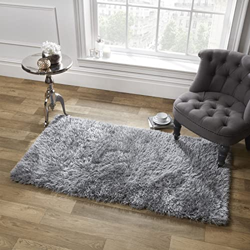 Sienna Large Soft Shaggy Floor Rug Mat Runner Carpet 5cm Non-Shed Pile - Silver