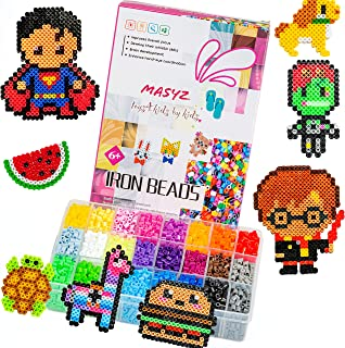 Fuse Beads Kit, Perler Beads Kit, 5,300 Pc. 24 Bright Colors Beads In A Big Storage Case 2 Perler Beads Pegboards 3 Keychains Tweezer Iron Beads Paper Best Gift For Birthday Holiday Christmas Hanukkah