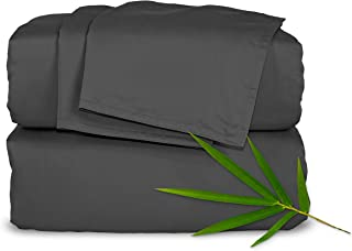 "Pure Bamboo Sheets - Queen Size Bed Sheets 4-pc Set - 100% Organic Bamboo - Incredibly Soft - Fits Up to 16"" Mattress - 1 Fitted Sheet, 1 Flat Sheet, 2 Pillowcases (Queen, Charcoal)"