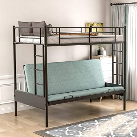 Amazon Com Polibi Twin Over Futon Couch And Bed Metal Futon Bunk Bed With Guardrails And Ladder For Kids Teens Adults Black Kitchen Dining