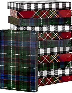 Hallmark Plaid Shirt Box Bundle (12 Boxes, 3 Designs) Blue, Green, Red Plaid, Black Buffalo Check for Christmas, Hanukkah,...