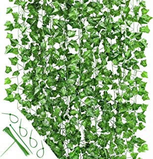 24 Pack (Each 82inch) (Total 160 Feet) Artificial Ivy Greenery Fake Hanging Vine Plants Leaf Garland Hanging for Wedding P...